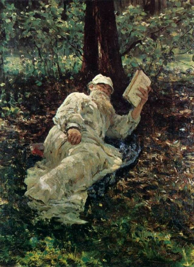 Tolstoi descansando en el bosque. (Ilya Repin, 1891)